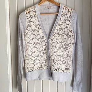 Loft Crochet Gray Button Down Cardigan
